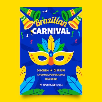 Brazylijski karnawałowy plakat z maską