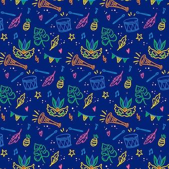 Brazylijski karnawałowy wzór z bębnami