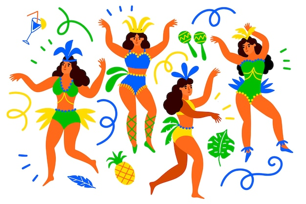 Brazylijskie tancerki karnawałowe z ananasem i wstążkami
