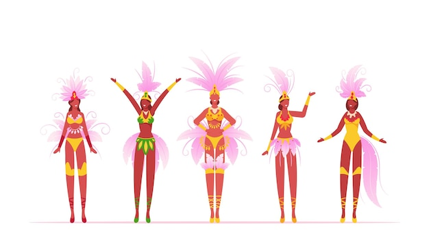 Brazylijskie tancerki samby kobiety na białym tle na białym tle, płaskie ilustracja kreskówka