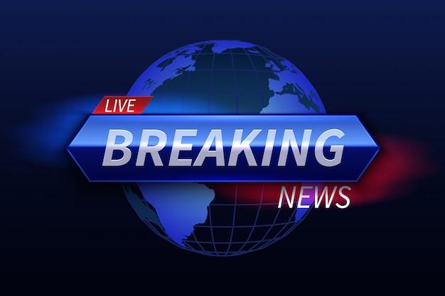 Breaking news banner. nagłówek studia telewizyjnego na żywo. grafika wektorowa programu telewizyjnego