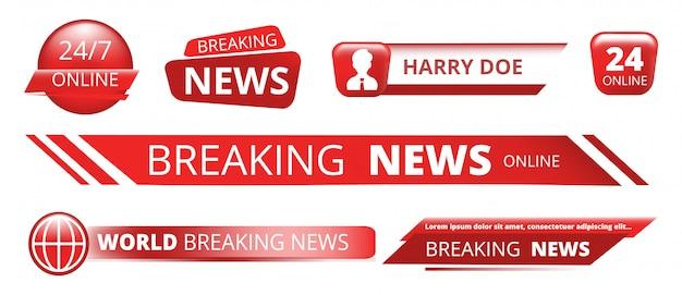 Breaking news banner. nagłówek transmisji telewizyjnej na białym tle