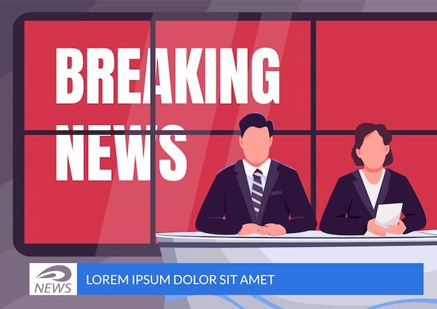 Breaking news banner płaski szablon