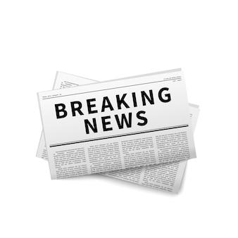 Breaking news nagłówek składany gazeta na białym tle