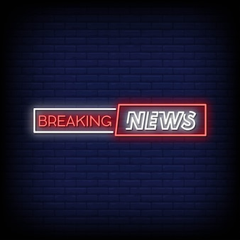 Breaking news neon signs style text