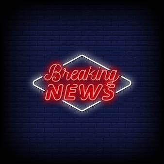 Breaking News Neon Signs Premium Wektorów