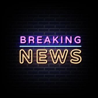 Breaking news neonowy znak