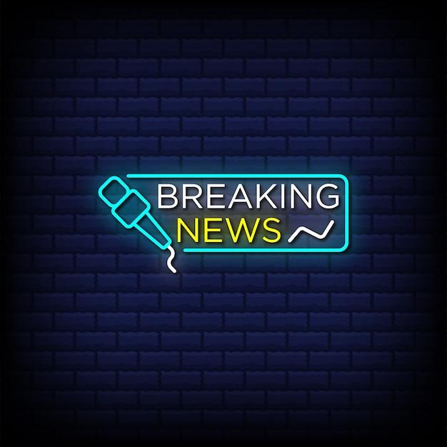 Breaking news neony w stylu tekstu