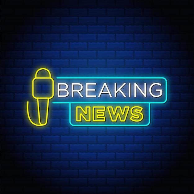 Breaking news tekst w stylu neonu z mikrofonem.