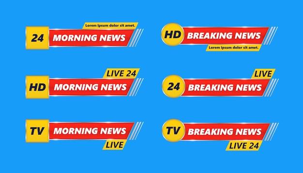 Breaking news tv banery zestaw. najświeższe wiadomości, full hd, ultra hd, dramatyzacja, nagrywanie na żywo. dolny nagłówek, nazwa kanału lub emblemat z tekstem, trzecia część dolna linia.