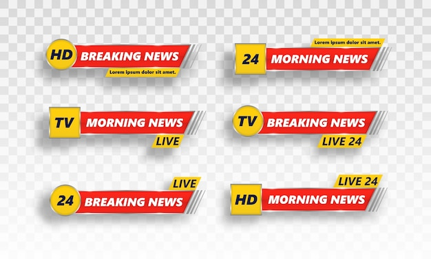 Breaking news tv banery zestaw.