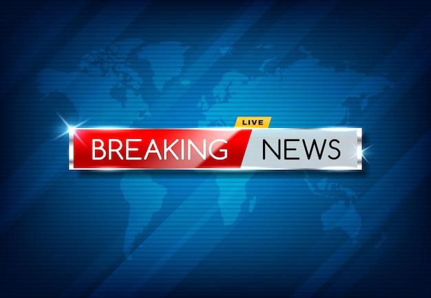 Breaking news tv screen screen, publikacja kanału w mediach wektorowych, pilne ogłoszenie.