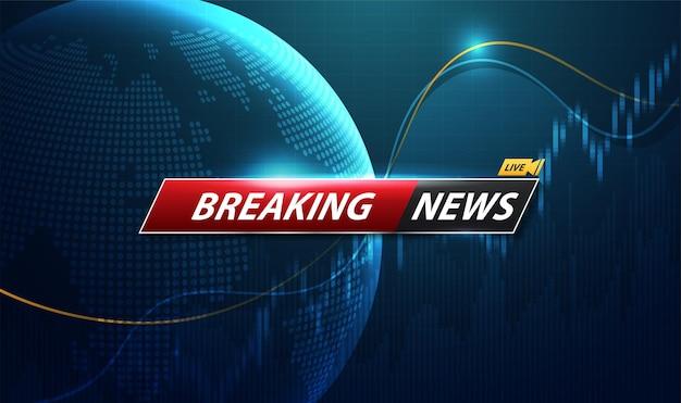 Breaking news tytuł szablonu z cieniem na tle mapy świata na ekranie telewizora. projekt wektor.