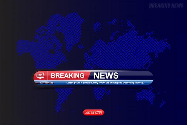 Breaking news tytuł szablonu z technologią mapy świata dla kanału telewizyjnego z ekranem.