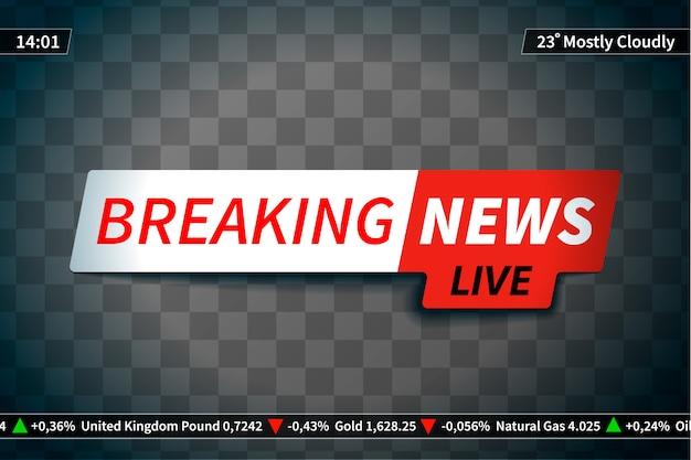 Breaking news wygaszacz ekranu na przezroczystym tle