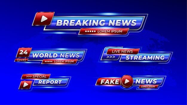 Breaking News Zestaw Dolnej Trzeciej Transparentu Premium Wektorów