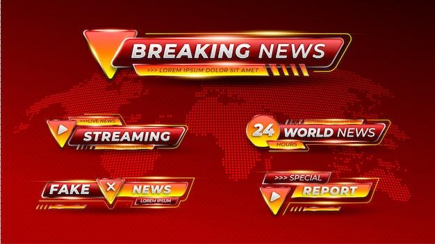 Breaking news zestaw dolnej trzeciej transparentu