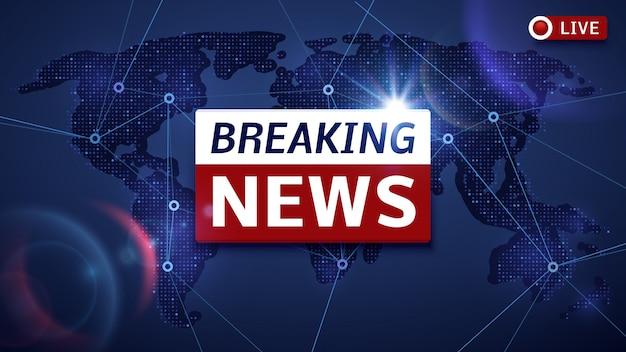Breaking world news na żywo wektor tle tv i koncepcja strumienia wideo w internecie