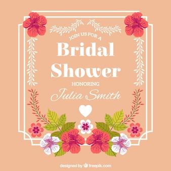 Bridal prysznic ramka z pięknych kwiatów