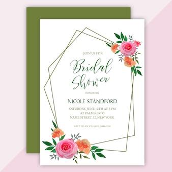 Bridal shower zaproszenia karty w wieniec kwiatowy akwarela