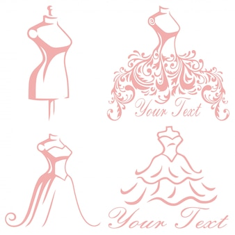Bridal wedding boutique gown logo design set kolekcja premium