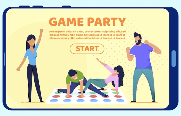 Bright flyer inscription game party landing page.