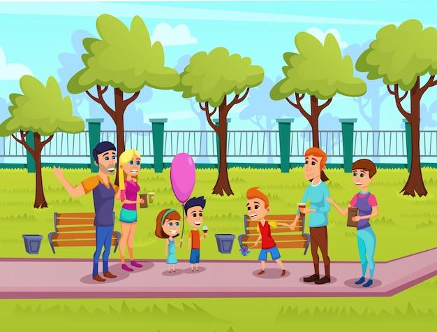 Bright flyer summer family fair cartoon. organizowanie gier i konkursów dla dzieci na targach.