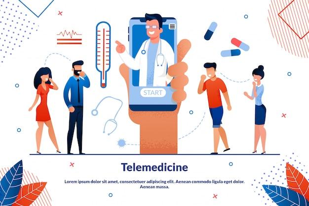 Bright flyer telemedicine smartphone screen doctor
