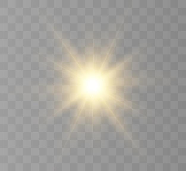 Bright star przezroczyste jasne słońce