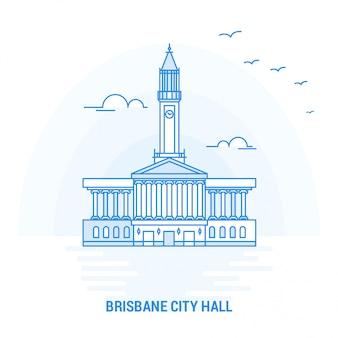 Brisbane city hall blue landmark