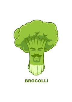 Broda brocolli uśmiech wektor logo