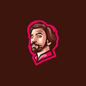 Broda człowiek wektor projektowanie logo
