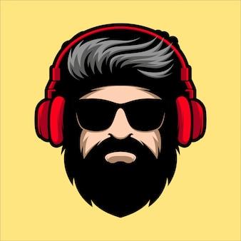 Broda człowiek z okularami i ilustracja maskotki słuchawki