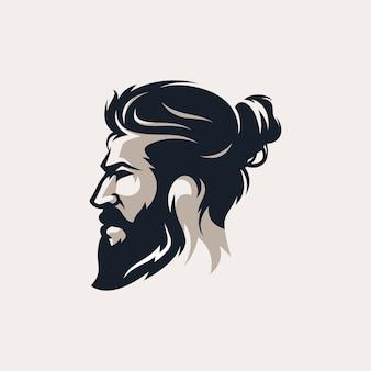 Broda mężczyzna fryzjera męskiego sklepu loga wektoru ilustracja