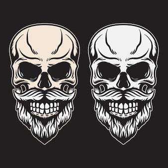 Broda z czaszką w stylu vintage