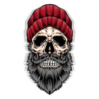 Brodata czaszka nosi czerwoną czapkę