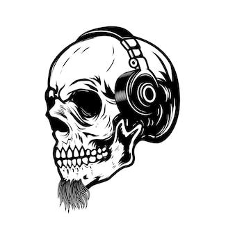 Brodata czaszka w słuchawkach. element na znak, odznakę, etykietę. wizerunek