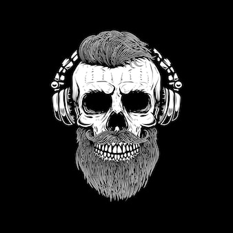 Brodata czaszka w słuchawkach. element plakatu, karty, godła, banera znakowego. wizerunek