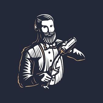 Brodaty barman, barman lub barman w pracy sylwetka z projektem logo shaker na czarnym tle - ręcznie rysowane mężczyzna z brodą i wąsami ilustracji wektorowych. złoty i biały wzór godła vintage