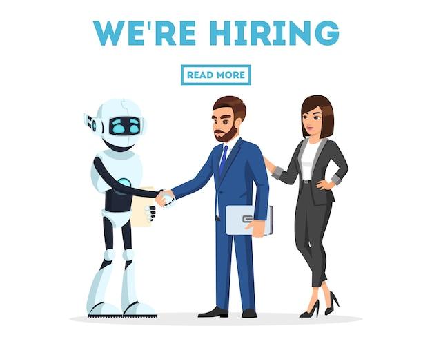 Brodaty biznesmen i bizneswoman poznaje nowego kolegę, antropomorficzną maszynę, radośnie sztuczną inteligencję, ściskającą dłonie.