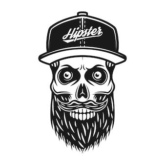 Brodaty czaszka w czapce z daszkiem z napisem hipster wektor monochromatyczna ilustracja na białym tle