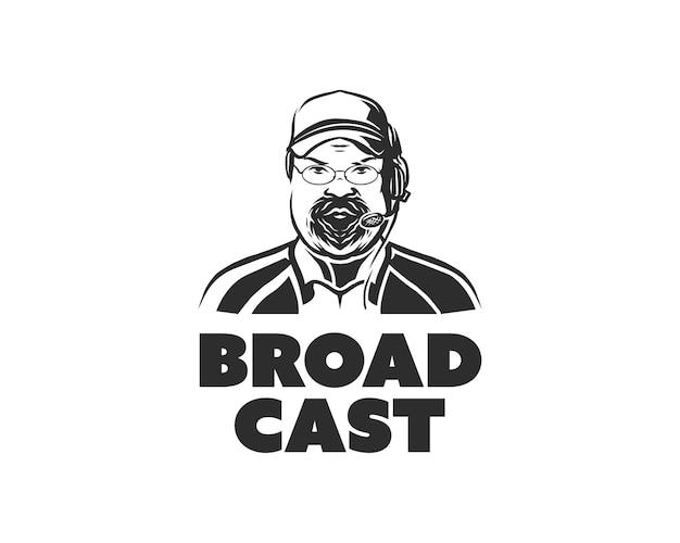Brodaty grubas w kapeluszu i mikrofonie. szablon projektu logo transmisji dziennikarskiej