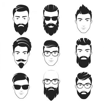 Brodaty hipster twarz zestaw logo