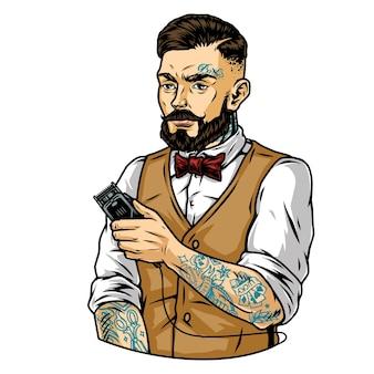 Brodaty i wąsaty stylowy fryzjer z tatuażami i elektryczną maszynką do strzyżenia włosów na białym tle ilustracji wektorowych