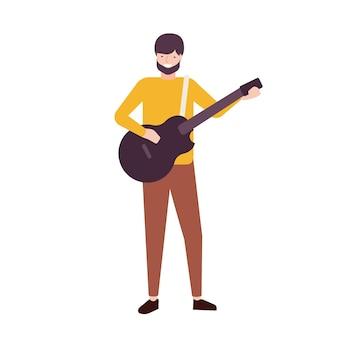 Brodaty mężczyzna gra na gitarze i śpiewa. męski muzyk, wokalista lub gitarzysta wykonujący piosenkę na scenie. songster lub wykonawca muzyczny na białym tle. ilustracja wektorowa kreskówka płaski.