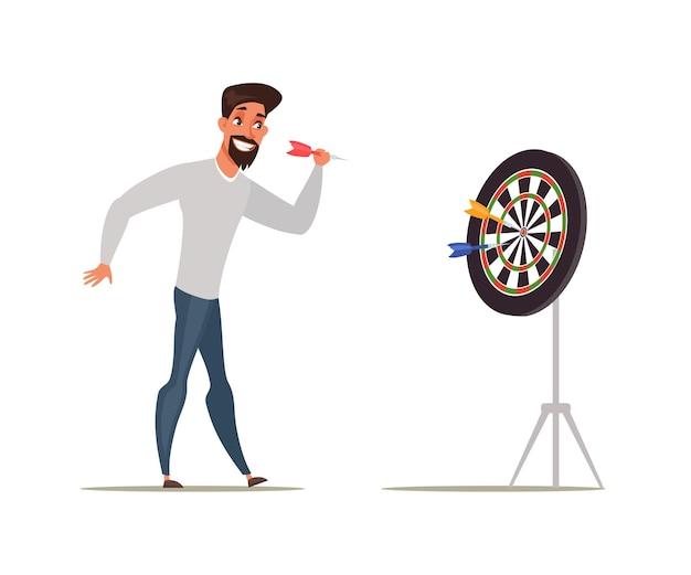 Brodaty mężczyzna gra w rzutki