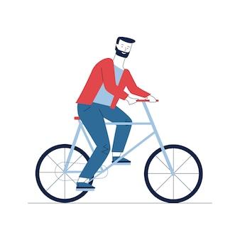 Brodaty mężczyzna jedzie na rowerze