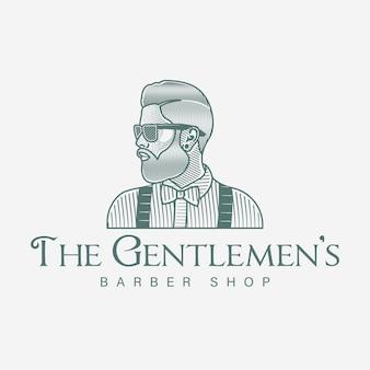 Brodaty mężczyzna logo fryzjera wyciągnąć rękę