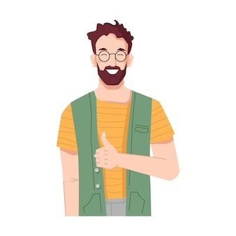 Brodaty mężczyzna uśmiechający się i pokazujący kciuki do góry znak faceta z gestem oznaczającym akceptację w porządku i lubię