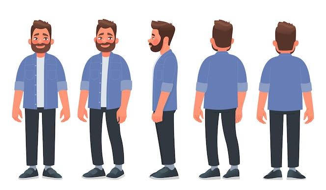 Brodaty mężczyzna w zwykłych ubraniach facet widziany z przodu z boku i z tyłu